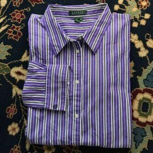 Polo Button Down Striped Embroidered Sleeve
